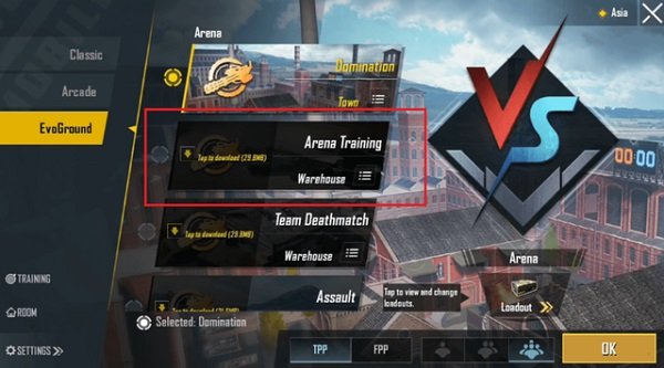 Join Arena Training Mode to Get Access To Various Weapons And Ammo in PUBG Mobile