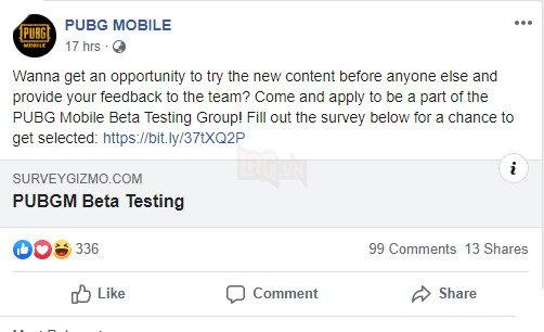 PUBG Mobile Beta Testing Team